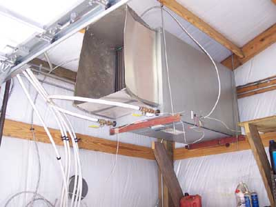 hanging heat exchanger coil for garage, shop