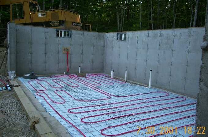 Pex Pipe installed for basement slab