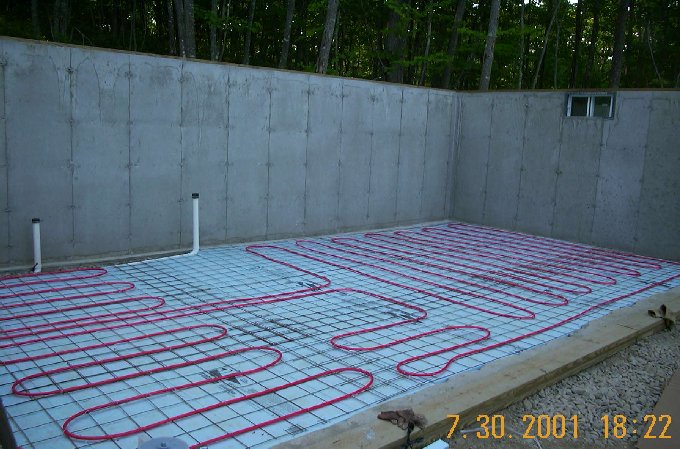 Pex Pipe installed for basement concrete floor
